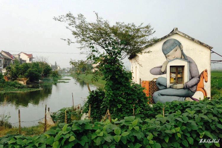 Graffiti Town near Shanghai Fengjing Girl River