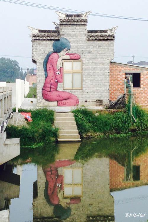 Graffiti Town near Shanghai Fengjing Pink Girl River