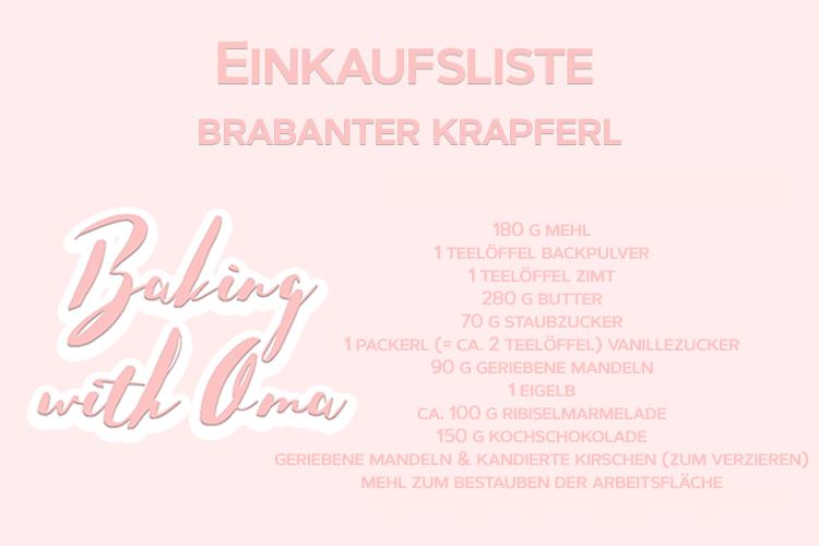 Christmas Baking with Oma Mitzi Brabanter Krapferl Einkaufsliste