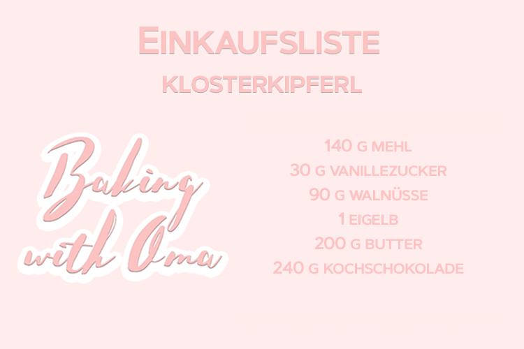 Christmas Baking with Oma Mitzi Episode 7 Einkaufsliste Klosterkipferl