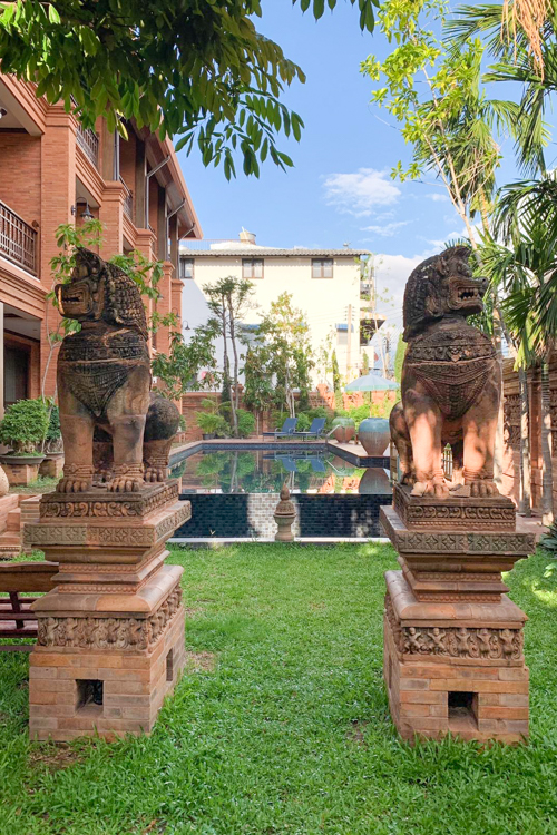 Personal Hotel Review Phor Liang Meun Terracotta Arts Hotel Chiang Mai Pool Decor